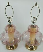 Vintage Table Lamps 2 Bubble Beaded Melon Pink Floral Glass Wildflowers 3 Way