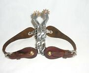 Stainless Steel Ladies Roping Spurs Brass Buttons And Rowels Leather Spur Straps