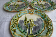 3 Vintage French Barbotine Majolica Plates - Joan Of Arc / Jeanne D'arc