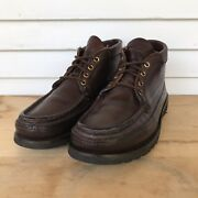 Russell Moccasin Co Chukka Boots Mens Sz 8.5b Brown Leather Triple Vamp W/collar