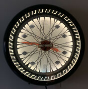 Harley Davidson Vintage Neon Electric Wall Clock Glass Spinning Wheel Spokes 20andrdquo