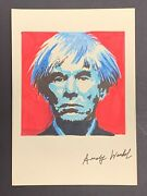 Andy Warhol Pop Art Self Portrait Mixed Media On Paper Signed 11.5 X 8.25