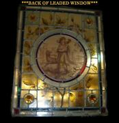Superb Rare Antique Stained Glass Leaded Window Panel Hunting Scene With Dogs.