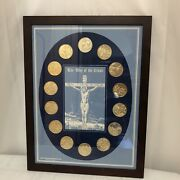 Vintage The Way Of The Cross Barco Mint New Orleans Doubloon Framed Catholic Art