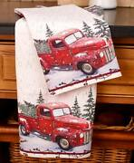 Vintage Red Pickup Snowy Truck Christmas Set Of 2 Kitchen Towels Home Decor Gift