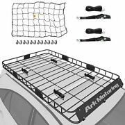 64 Roof Rack Cargo Carrier Luggage Basket Extension W/ Cargo Net + Strap