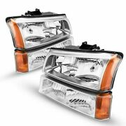 Headlights Assembly Pair Left+right Clear Lens For 2003-07 Chevy Silverado 3500