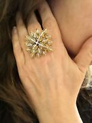 Large Mid-century French Diamond Floral Cluster Spray Ring In 18kt Yellow Gold