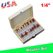 15pc 1/4 Router Bit Set Shank Tungston Carbide Rotary Tool Wood Woodworking New