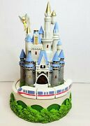 Vintage Disney Cinderellaand039s Castle With Moving Monorail Music Box 8.5