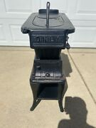 Antique North Manchester Foundry Company 2 Lid Cast Iron Fire Wood Burning Stove