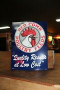Large Red Comb Poultry Feeds Dealer Embossed Metal Sign Gas Oil Farm Rooster Ih