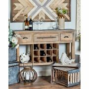 Rustic 12-bottle Wooden Wine Console Brown