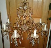 8 Light Victorian Antique Spanish Style Pineapple Brass And Crystal Chandelier