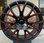 22'' Inch Wheels With Tires Black Red Milled Hellcat Charger Magnum Challenger