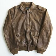 Polo [a-2 Flight Jacket] L Leather Jacket Brown Motorcycle Japan