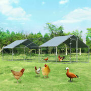 Walk In Chicken Coop Run House Shade Cage 10and039 X 26and039 W/roof Cover