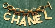 Auth Vintage Logo Letter Chain Bracelet Gold 93p Used From Japan F/s