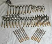 Vintage Italian Inoxpran Inx1 Stainless And Gold Plated 73 Piece Flatware Set