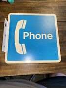 Telephone Booth Pay Phone Metal Sign - Vintage Blue And White Receiver Wall Sign