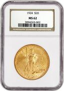 1924 20 St Gaudens Double Eagle Gold Ngc Ms62 Uncirculated Coin