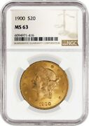 1900 20 Liberty Head Double Eagle Gold Ngc Ms63 Brilliant Uncirculated Coin
