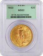 1923 20 St Gaudens Double Eagle Gold Pcgs Ms62 Gen 3.1 Old Green Holder Ogh