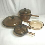 Vision Ware Vintage Corning Pyrex Amber Glass Cookware 8 Pc Set Usa And France