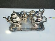 5 Pieces Silver Plated Tea / Coffee Set With Large Tray Vintageandnbspwm Rogers