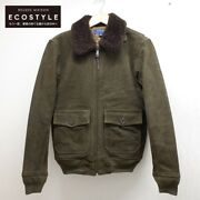 Polo Cowhide Leather G-1 Flight Jacket Xs Olive Men's Japan Used