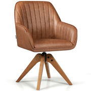 Giantex Mid Century Swivel Accent Chair Pu Leather Vanity Study Armchair Brown