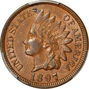 1897 1c Snow-1. One In The Neck. Indian Head Cent Pcgs Au55 Eeps 229