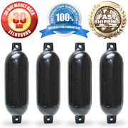 4 New Ribbed Boat Fenders 6.5 X 23 Black Twin Eye Bumpers Mooring Protection
