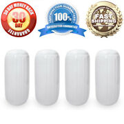 4 New Ribbed Boat Fenders 8 X 20 White Center Hole Bumpers Mooring Protection