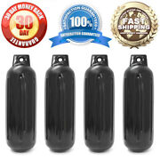 4 New Ribbed Boat Fenders 4.5 X 13 Black Single Eye Bumpers Mooring Protection