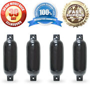 4 New Ribbed Boat Fenders 4.5 X 16 Black Twin Eye Bumpers Mooring Protection