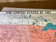 Vtg Cramand039s Pull Down Wall Map Of The United States In 1868 Homeschooling