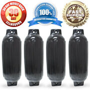 4 New Ribbed Boat Fenders 8.5 X 27 Black Twin Eye Bumpers Mooring Protection
