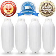 4 New Ribbed Boat Fenders 8.5 X 27 White Twin Eye Bumpers Mooring Protection