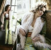 Spell Gypsy Collective Anastasia Jade Green Embroidered Faux Fur Coat Jacket M/l