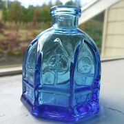 Vtg Carter Cathedral Blue Glass Ink Well Bottle Wheaton New Jersey Free Shipping