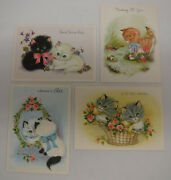 14 Greeting Card Lot W/ Envelopes Vintage 1950s Kittens Puppies Cats Dogs Unused