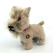 Grisly Terrier Schnauzer Dog 12cm 5in Id Button Pre- 1964 Mohair Plush Vintage