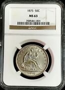 1875 Silver United States Seated Liberty 50c Half Dollar Ngc Mint State 63