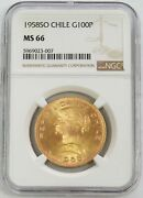 1958 So Gold Chile 100 Pesos Coin Santiago Mint Ngc Mint State 66