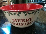 Gooseberry Patch Large Merry Christmas Enamelware Bowl Holly Brand New