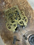 Antique Brass Weight Driven Clock Movement - Chime , Key, Glass Pendulum And Face