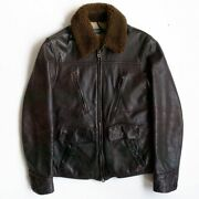Polo S Cowhide Mouton Leather Bomber Flight Jacket S Size Brown