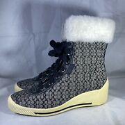 Coach Nancy Sneaker Fur Boots, Black And Grey A7146 Womens Size 7m New