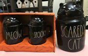 Rae Dunn Black Scaredy Cat Halloween Canister Ceramic Canister And Spooky Cat Mugs
